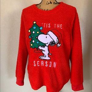 Peanuts Women's XL Snoopy Christmas Fuzzy Sweater